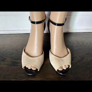 Franco Sarto suede/patent leather strappy sandals